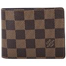 LV N61208 SLENDER 棋盤格紋八卡對折短夾(咖啡色)