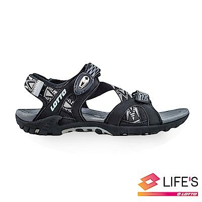 LOTTO 義大利 男 排水磁扣涼鞋 (黑)