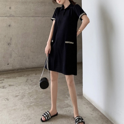 2F韓衣-簡約氣質拼接短袖造型洋裝-黑-(S-2XL)