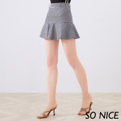 SO NICE MIT優雅維希格紋短裙
