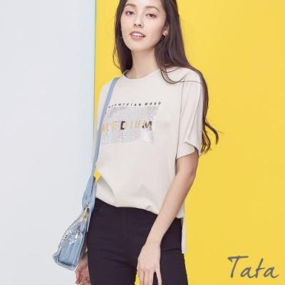 磚格亮片燙金T恤上衣 共三色 TATA