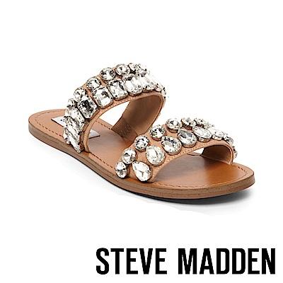 STEVE MADDEN-REASON雙水鑽鑲嵌二字帶平底拖-棕色