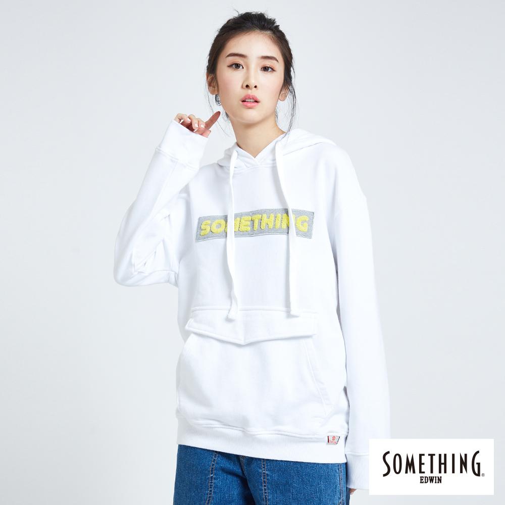 SOMETHING 青春高校 基本LOGO口袋連帽T恤-女-白色