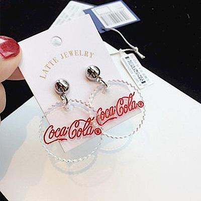 梨花HaNA 韓國經典紅白Cola字母瓶蓋耳環