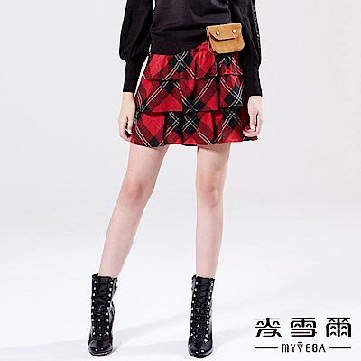 【麥雪爾】羊毛蘇格蘭格紋層次褲裙