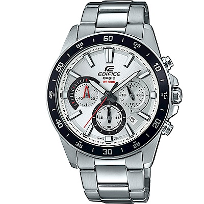 EDIFICE簡約魅力經典三針三眼計時腕錶(EFV-570D-7A)/白面43.8mm