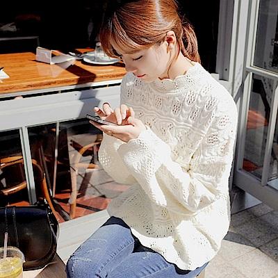 La Belleza立領蕾絲花邊領鏤空麻花編織落肩針織毛衣