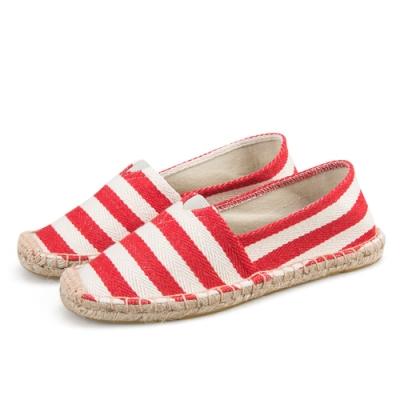 韓國KW美鞋館 (現貨+預購) 白紅條歐美外銷草編休閒帆布鞋-紅