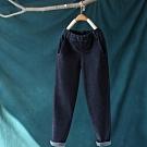 厚實軟糯單色磨毛雙扣鬆緊腰牛仔褲寬鬆長褲-設計所在