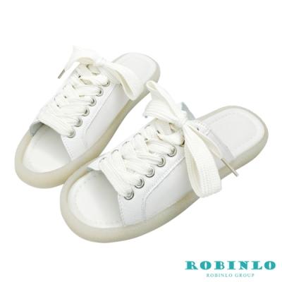 Robinlo超軟Q綁帶真皮果凍休閒拖鞋 白色