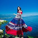 露肩桃紅海藍潑彩大襬長洋裝-S~L-維拉森林