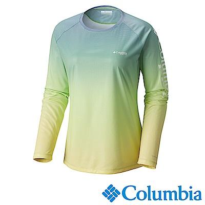 Columbia哥倫比亞 女款-PFG抗曬50快排長袖上衣-綠UFR00330AP