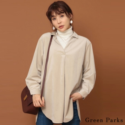 Green Parks 燈心絨V領抓褶襯衫上衣