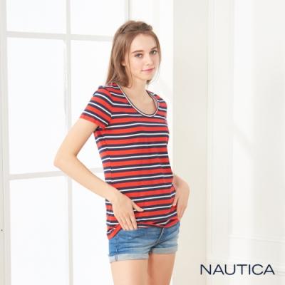 Nautica女裝經典款條紋U領短袖棉TEE-紅藍