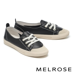 休閒鞋 MELROSE 潮流時尚全真皮綁帶造型厚底休閒鞋-黑