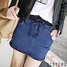 高含棉水洗刷色牛仔褲裙 (S-3L) SISTERS