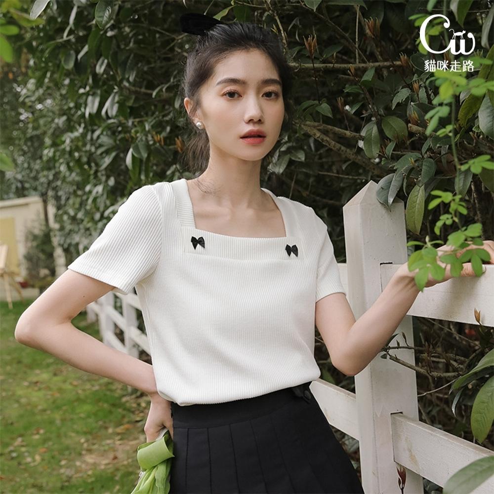 [CW.貓咪走路]法式淑女風大方領蝴蝶結短袖針織衫(KDT-11018)