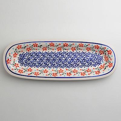 波蘭陶 藍印紅花系列 長方形餐盤 13X37cm 波蘭手工製