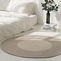 【收納職人】日系慢活厚棉線編織大地毯 (淺棕+白色拼