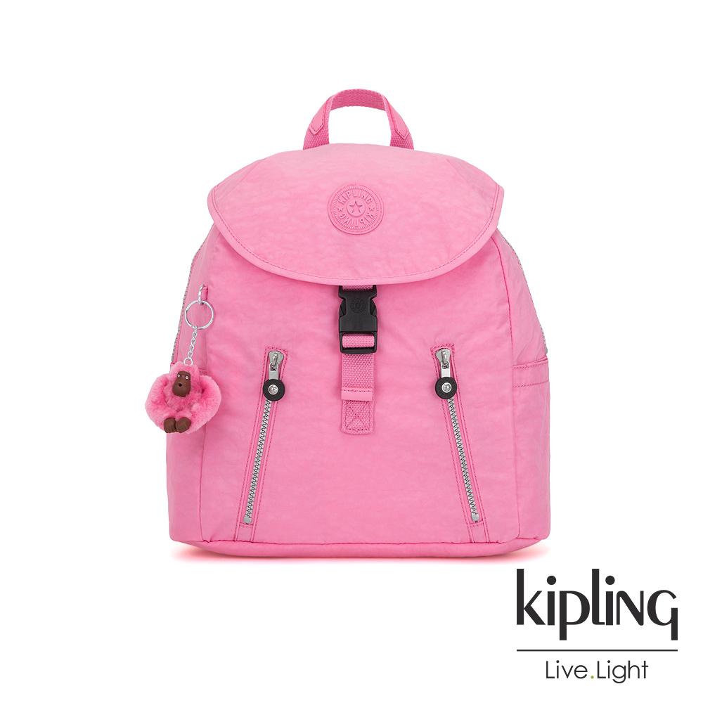 Kipling 甜美糖果粉前扣翻蓋後背包-ZAKARIA