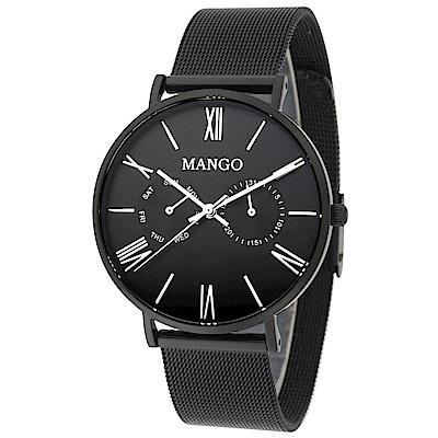 MANGO 完美夏日艷情腕錶-黑/38mm(贈皮革錶帶組)