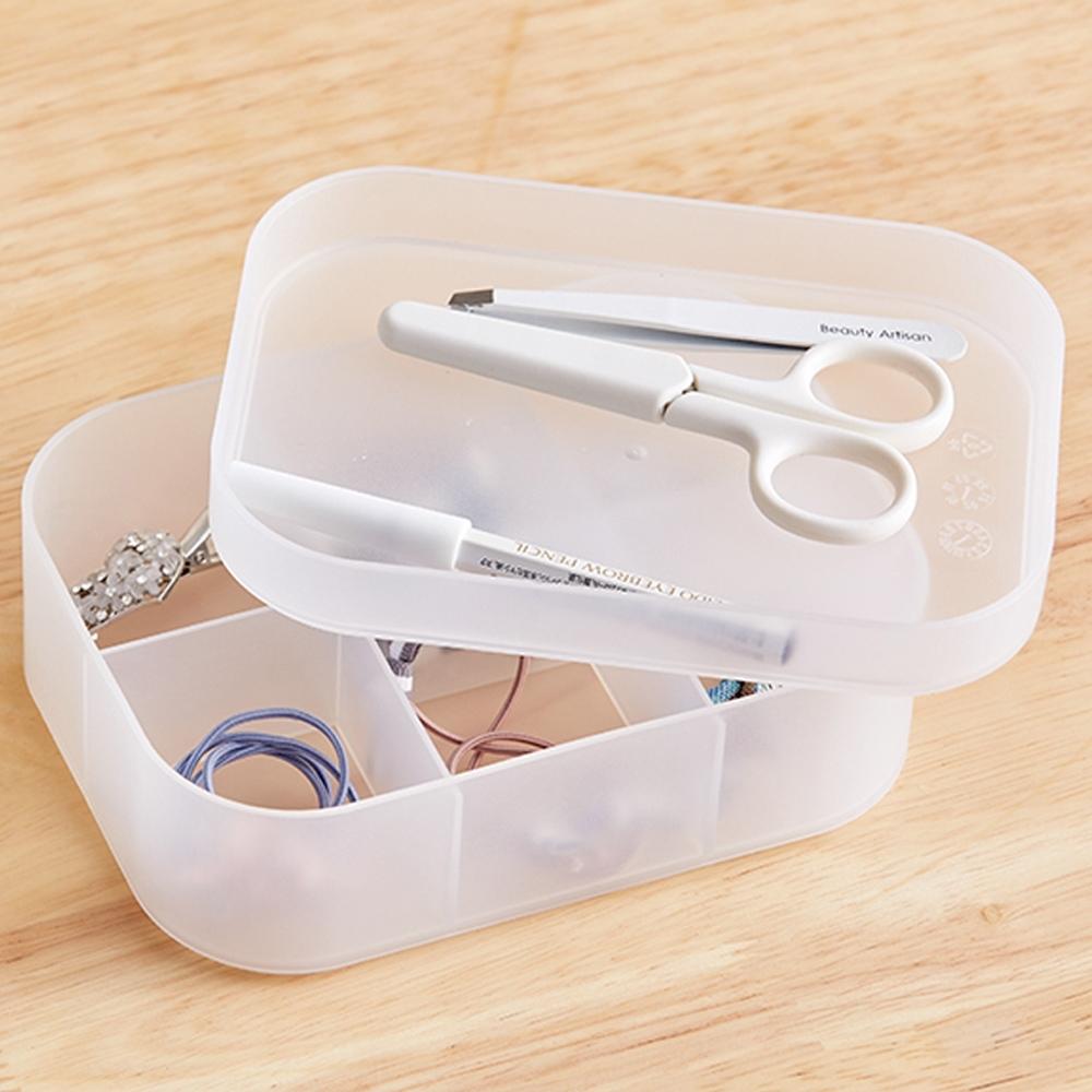 E-dot 掀蓋式透明小物收納盒(小號/六格)