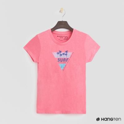Hang Ten -女裝 - 有機棉-加州幾何圖樣短T - 粉