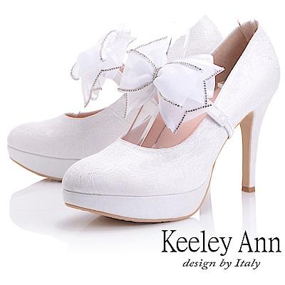 Keeley Ann 優雅迷人~可拆式網紗蝴蝶結腳背帶高跟鞋(白色)