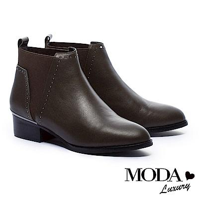 短靴 MODA Luxury 異材質拼接率性小鉚釘尖頭粗跟短靴-綠