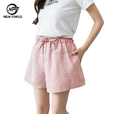 NEW FORCE 時尚休閒寬腿顯瘦格子褲子-粉紅