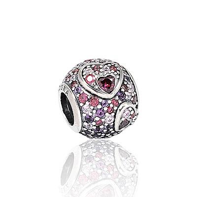 Pandora 潘朵拉 閃耀鑲鋯愛心圓珠 純銀墜飾 串珠