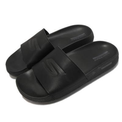 Skechers 拖鞋 Hyper Slide 運動後 女鞋 舒適 避震 緩衝 皮革鞋面 固特異橡膠大底 黑 130022BBK