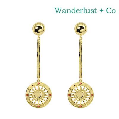 Wanderlust+Co 澳洲時尚品牌 SOLIS閃耀太陽垂墜式耳環 金色