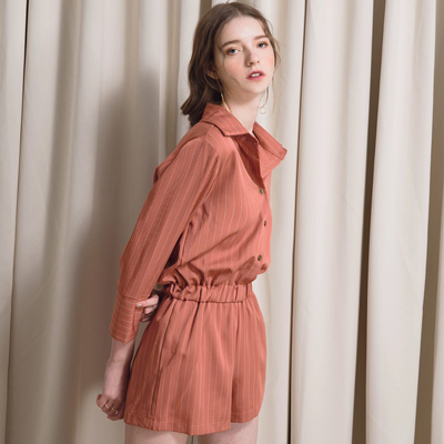 AIR SPACE LADY 直紋鬆緊襯衫連身短褲(磚紅)