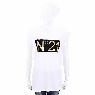N° 21 燙金字母白色棉質T恤