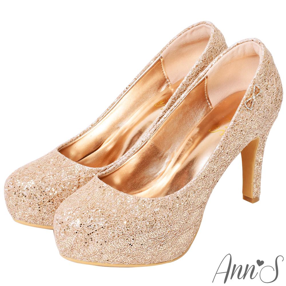 Ann'S絕美氣質.獨家訂製款bling蕾絲新娘跟鞋-玫瑰金