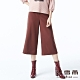 麥雪爾 純色造型織帶八分寬褲-紅咖 product thumbnail 1