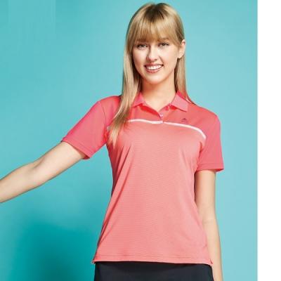 SPAR細橫條紋彈性女版短袖POLO衫S206218螢光櫻桔色