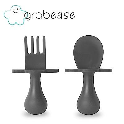 grabease 美國 嬰幼兒奶嘴匙叉組-黑灰