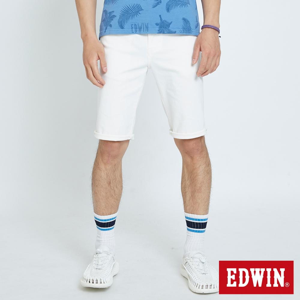 EDWIN 大尺碼503休閒基本五袋短色褲-男-白色