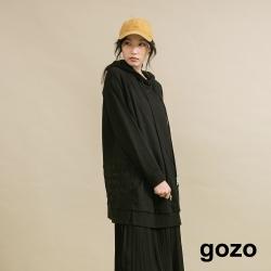 gozo 字母繡花長版帽T(二色)
