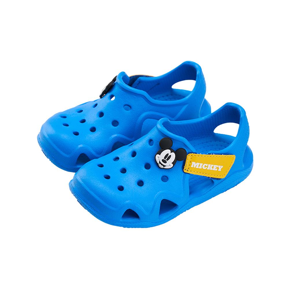 迪士尼童鞋 米奇 魔鬼氈防水洞洞涼鞋-藍