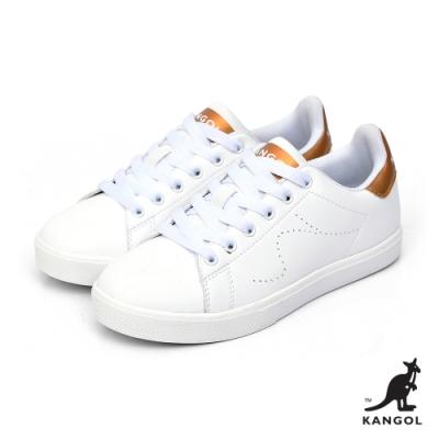 【KANGOL】經典復刻80週年限定皮質休閒鞋-女-白