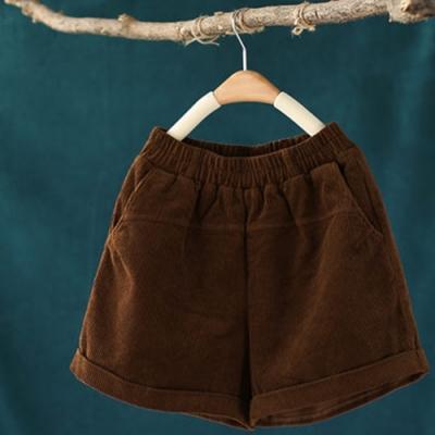 軟糯厚實單色燈芯絨鬆緊腰短褲寬鬆寬管褲-設計所在