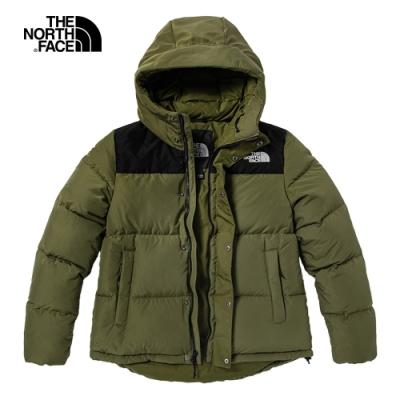 The North Face北面女款綠色防風防潑水連帽羽絨外套|4NEZ7D6