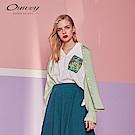 OUWEY歐薇 針織條紋剪接襯衫(綠)