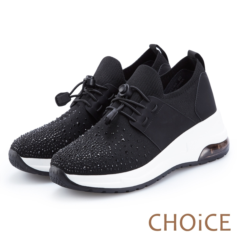 CHOiCE 壓釦免綁鞋帶氣墊 女 休閒鞋 黑色