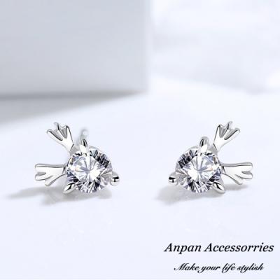 ANPAN愛扮S925純銀飾 可愛麋鹿角鑽石耳釘式耳環