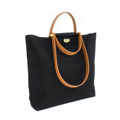 【IBAOBAO愛包包】ADOLE-ADay皮革組合包/黑帆布包+棕色提把