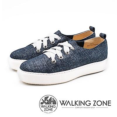 WALKING ZONE (女)寬綁帶質感刷色鬆糕鞋-藍(另有灰)